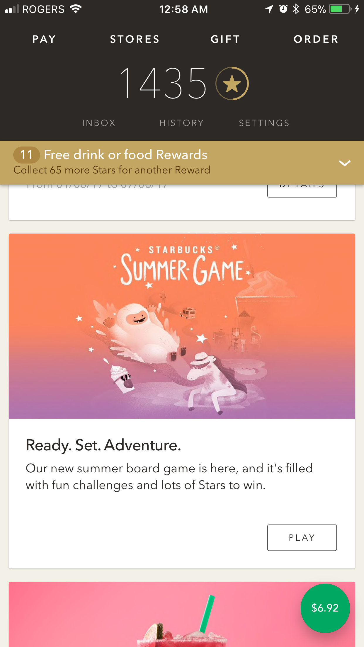 Starbucks Summer Game可以撸小毛